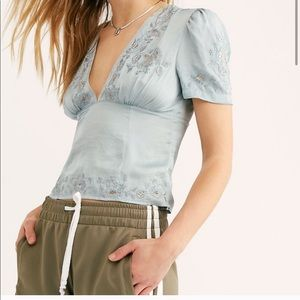 Free People Amor Amor Blouse Vintage Blue
